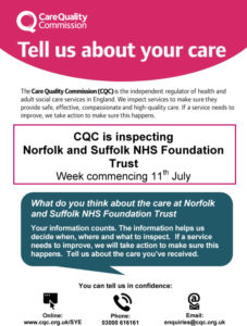 Norfolk and Suffolk NHS Foundation Trust inspection poster