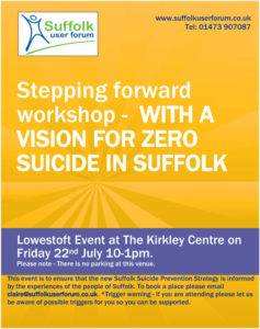 Stepping forward workshop poster for Lowestoft event