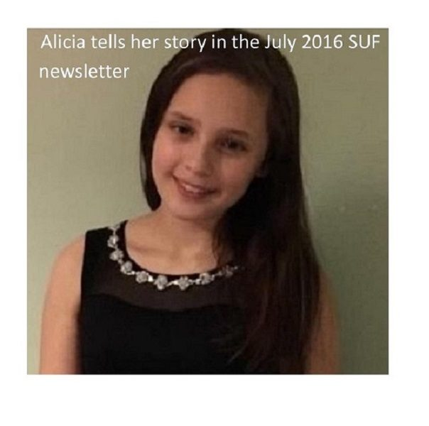 Alicia tells her story in the July 2016 SUF newsletter
