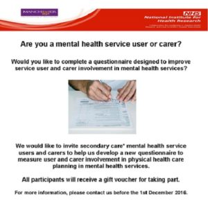 Research opportunity for service users & carers